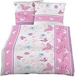 Schmetterlinge Feinbiber Kinder Bettwäsche 135x200 cm