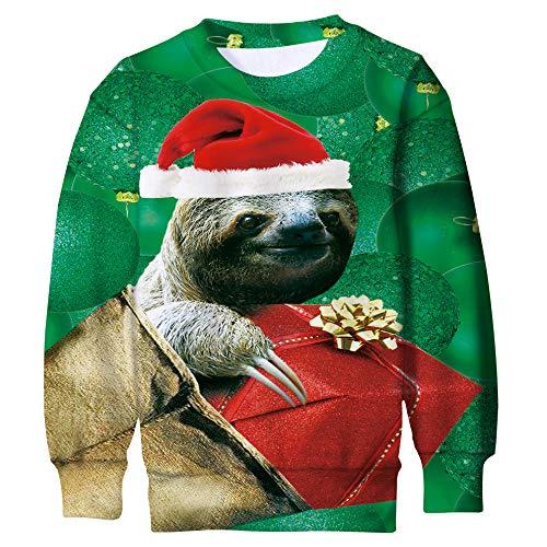 Funnycokid Kinder Jungen Pullover Weihnachten 3D Druck Sloth Lässig Langarm Fleece Mädchen Sweatshirt Ugly Christmas Sweater Grün (Weihnachten Pullover Kinder)