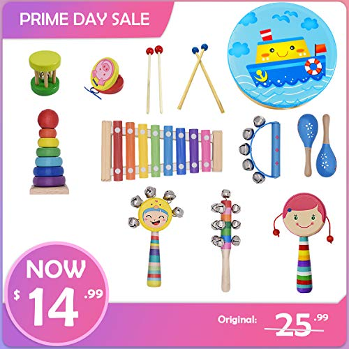 2a61c8e28ae8a9 Toddler Musical Instruments- CACA 15 pcs Wooden Percussion Instruments Toy  for Kids Preschool Educational,