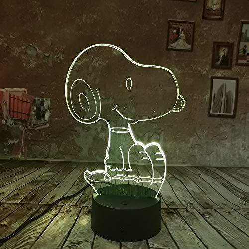 Nettes Spielzeug der Kinder 3D Nachtlicht Snoopy 7 Farbensteigung beleuchtet LED USB Tischlampe-Feriengeschenk (Snoopy Geburtstag Dekorationen)