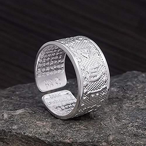 Daeou Ringe für Damen Metall-Retro-Thai Silber-Buddhismus sechs Worte Mantra Herz durch Ring-Männer und Frauen universelle Geschenke