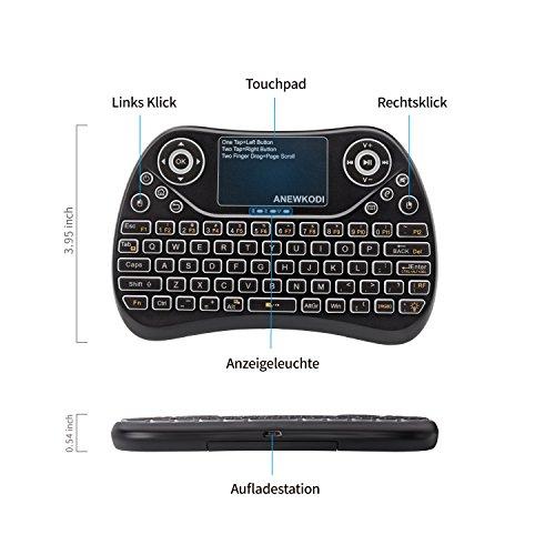 Foto de ANEWKODI T2 Mini teclado con touchpad 2.4 GHz teclado QWERTY teclado inalámbrico Blau luz de fondo teclado touchpad mouse combo, Android TV control remoto, smart TV, decodificador, HTPC, IPTV, Xbox