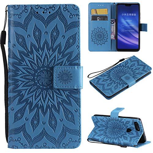 YYhin Schutzfolie für Xiaomi Mi 8 Lite / Mi8 Youth hülle, Cartera Wallet Leder abnehmbare magnetische abnehmbare Tasche mit Flip Schutzhülle Case.(Blau)