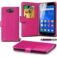 Huawei Honor Holly Pink Farbe PU Lederetui Buch-Stil Handy Hülle mit Displayschutz-Folie & Eingabestift von Gadget Giant®