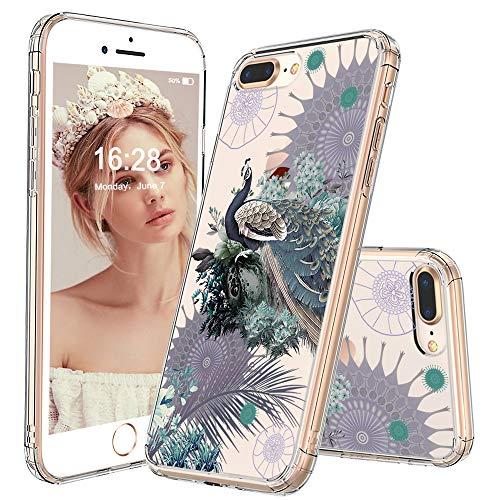 MOSNOVO iPhone 8 Plus Hülle, iPhone 7 Plus Hülle, Pfau Muster TPU Bumper mit Hart Plastik Hülle Durchsichtig Schutzhülle Transparent für iPhone 7 Plus/iPhone 8 Plus (Peacock)