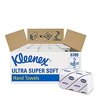 Kleenex 6789 Interfolded Hand Towels, 2 ply, White,  15 packs x 186 Sheets