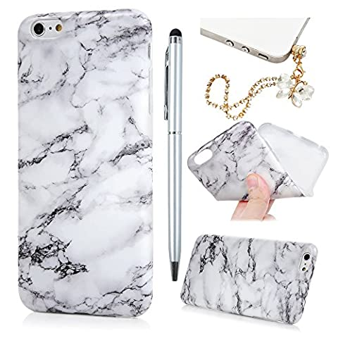 iPhone 6 Plus Case iPhone 6S Plus Case Marble Cover Badalink Flexible Soft Thin Gel TPU Case for 5.5 Inch iPhone 6 Plus iPhone 6s Plus & 1 Touch Pen & 1 Dust Plug(White