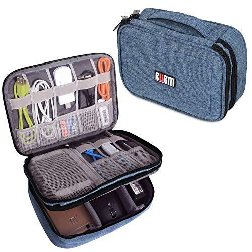 BUBM Estuche para Eléctricas Organizador de Accesesorio Bolsa de Viaje para Cables Cargador,Gadget de Memoria USB Bolsillo para iPad Mini(Mediado, Vaquero Azul)