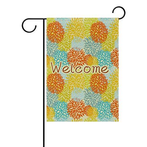 Novelcustom Polyester Garten Flagge Retro Sonnenblume Daisy Löwenzahn Kamille Haus Banner für Hochzeit Außerhalb Garten Hof Double Side Print 30x45,7 cm / 12,5 'x 18' -