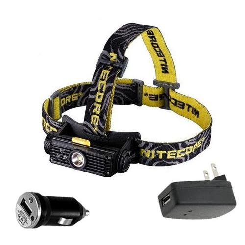 Combo: Nitecore HC90 Rechargeable XM-L2 LED Headlamp w/USB Car & Wall Adaptors (Powered Car Amp)