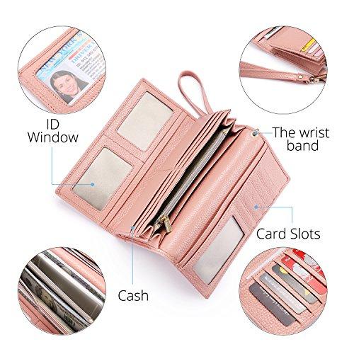 Geldbörse Damen Leder Rfid Geldbörse Brieftasche Lang Handy Geldbeutel Frauen Rosa - 4
