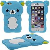 Schön Bär Gestalten Serie Slikon Gel [ Glatte Oberfläche ] Super Weich Cartoon Tier Hülle Case Schutzhülle für Apple iPhone 6 / iPhone 6S 4.7 inch Hülle - Blau