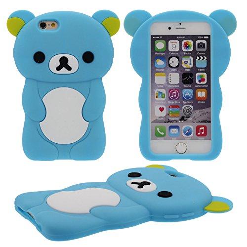 Schön Bär Gestalten Serie Slikon Gel [ Glatte Oberfläche ] Super Weich Cartoon Tier Hülle Case Schutzhülle für Apple iPhone 6 / iPhone 6S 4.7 inch Hülle - Pink blau