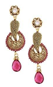 "Vivid Pink Faux Stone & Metal Bollywood Inspired""Ram Leela"" Jhumkas Earrings Faux Indian Jewelry"