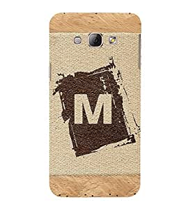 FIOBS alphabet m brownish colour salwood corners arial bold font Designer Back Case Cover for Samsung Galaxy A7 (2015) :: Samsung Galaxy A7 Duos (2015) :: Samsung Galaxy A7 A700F A700Fd A700K/A700S/A700L A7000 A7009 A700H A700Yd