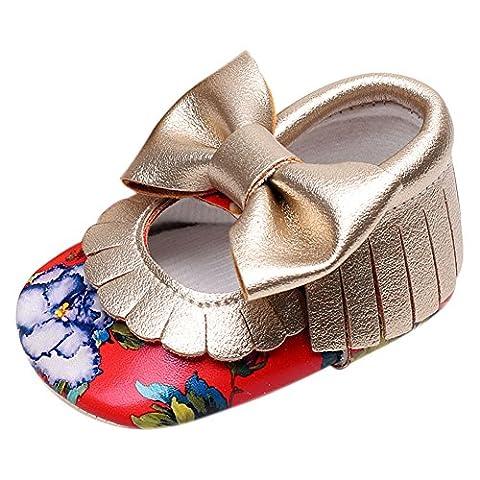 Bébé fille en cuir PU souple à semelles Floral Mary Jane Chaussures Mocassins Première Walkers - rouge - Red, 0-3 mois