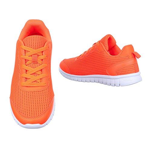 Damen Schuhe, H002, FREIZEITSCHUHE LOW-TOP SNEAKERS Orange