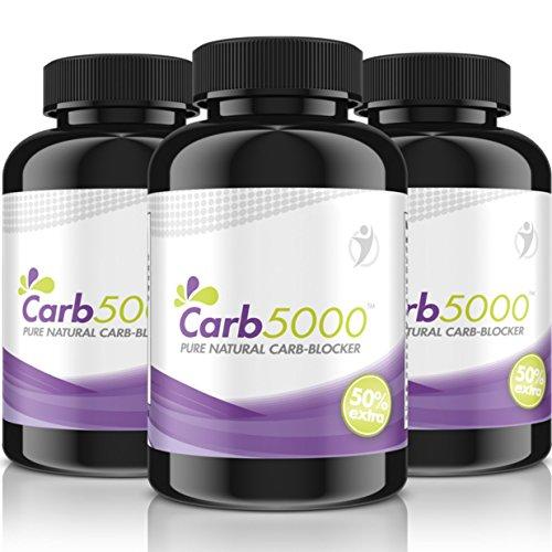 Carb5000 | 5x 90 Kapseln Hochdosiert | Natürlicher Carb-Kohlenhydrat-Blocker | Phaseolin, White Kindey Bean Extrakt (Kidneybohnen) | Premium Qualität -