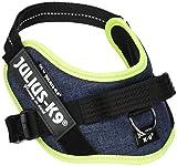 Julius-K9, 16IDC-FARNE-M, IDC-Powergeschirr, Hundegeschirr, Größe: Mini, Jeans mit neon Randverzierung