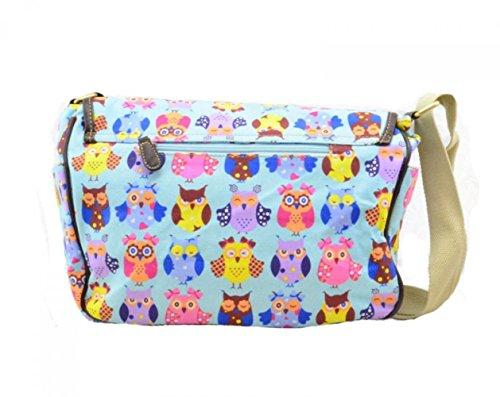 LeahWard® Damen Mode Satchel Taschen Kid's Damen Qualität Segeltuch Eule Schmetterling Blume Drucken Umhängetasche Handtasche CWC6072 CWC6072-Eule2-Himmelblau