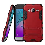 Samsung Galaxy J3(2016) Étui, Litastore Combo Hybride Antichoc Slim Armor Défenseur TPU Pare Chocs Avec Béquille Samsung Galaxy J3(2016) - Rouge