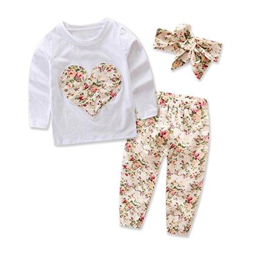 Ropa Bebe Niña Invierno Otoño de 0 a 24 meses SMARTLADY Bebé Niñas Camisetas de manga larga y Pantalones de flores + Vendas de pelo Conjunto de ropa (12-18 meses, Beige)