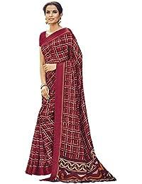 EthnicJunction Kora Silk Saree With Blouse Piece (Ej1185-2551_Maroon_Free Size)