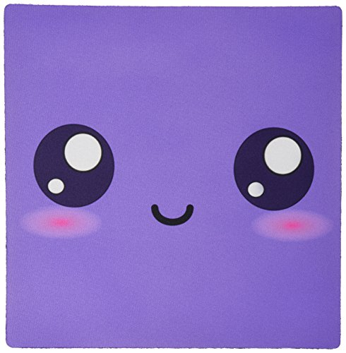 3dRose LLC 8 x 8 x 0.25 Inches Purple Cute Smiley Square Adorable and Kawaii Cartoony Smiling Face Girly Sweet Cartoon Pattern Mouse Pad (mp_76632_1)