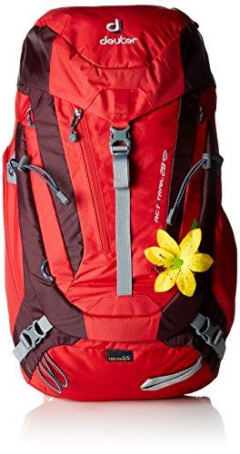 Deuter ACT Trail Mochila para Montaña, Mujer, Rojo (Fire / Aubergine), 28 l