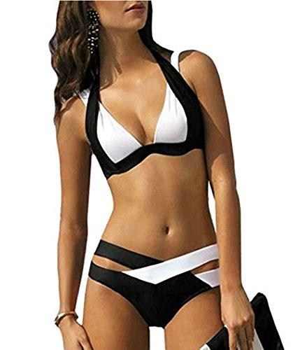 Peily® Donne Sexy Costume Avvolgere Bikini Triangolo Costumi Da Bagno Donna Costumi Mare Beachwear Moda Mare Costumi Due Pezzi (L, Bianco)