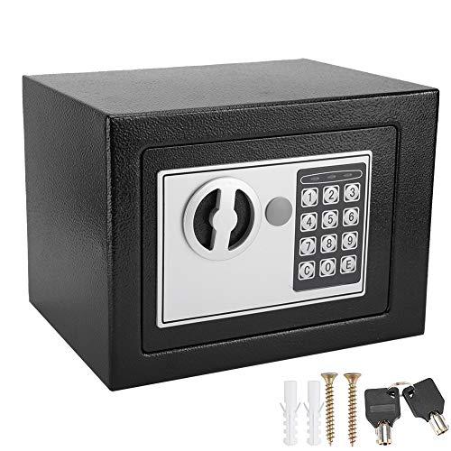 Caja Fuerte de Cerradura Electrónica con 2 Llaves 26 x 22 x 20 cm Caja de Seguridad de Contraseña...