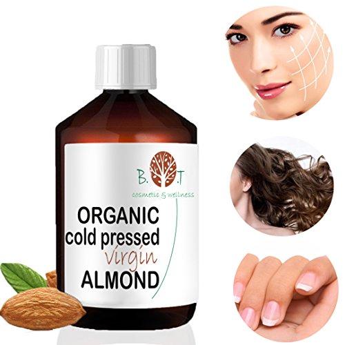 Olio Biologico di Mandorle Dolci Spremuto a Freddo - Olio di Barba, Ciglio, Chiodo, Olio per i Capelli 100% Pure  Viso & Corpo (100 ml)