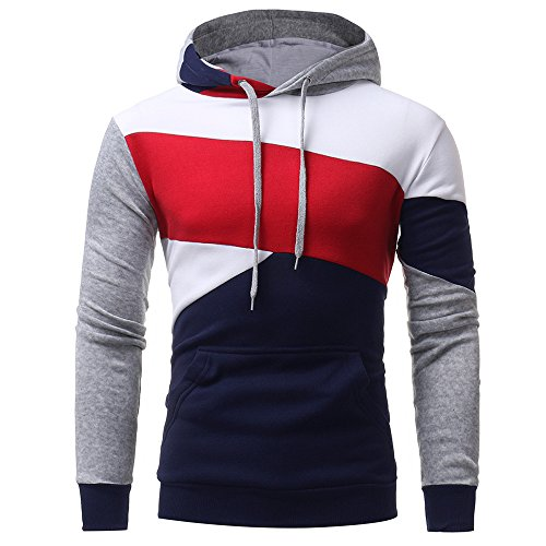 Kinlene Langarm-Patchwork Hoodie Kapuzen-Sweatshirt Tops Jacke Mantel Outwear Herren