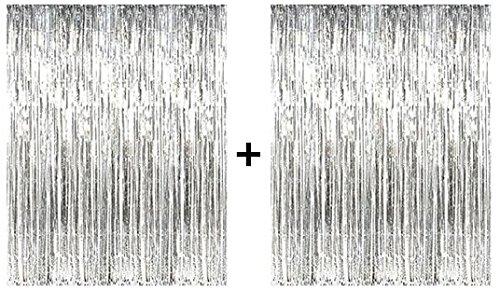 (PuTwo Metallic Tinsel Vorhänge Schiller Vorhänge Folie Fringe Shimmer Vorhang Dekorationen für Tür Fenster Wand Party Zubehör für Geburtstag, Hochzeit, Baby Shower - Silber)