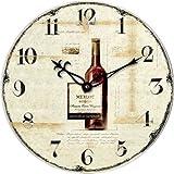 Technoline WT 1012 - Quarzwanduhr Wanduhr Retro 34cm Weinflasche Flasche Landhaus Nostalgie Küchenuhr Küchenwanduhr