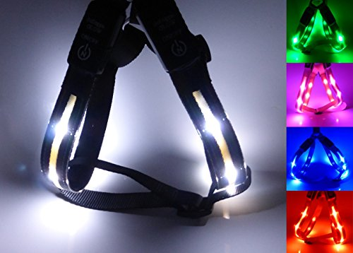 GoDoggie-GLOW – Reflective LED Dog Safety Harness – USB Rechargeable – Improved Dog Visibility & Safety – 5 Colours & 3 Sizes – Ultra-Bright LED's – Connects to Devices – No Batteries – Great Fun – Your Dog is Visible & Safe – Lifetime Guarantee