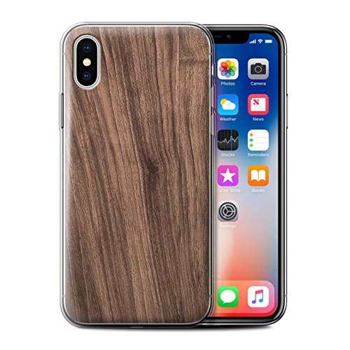 Stuff4 Gel TPU Hülle / Case für Apple iPhone X/10 / Buche Muster / Holz/Holzmaserung Muster Kollektion Nussbaum