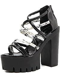 DZW?Las Nuevas Correas Para Mujer De Roma Abren Los Zapatos Gruesos De Las Sandalias De La Plataforma De La Correa...