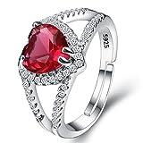 Clearine Damen 925 Sterling Silber Hochzeit Braut CZ Halo Herz von der See Veränderbar Cocktail Ring Rubin Rot