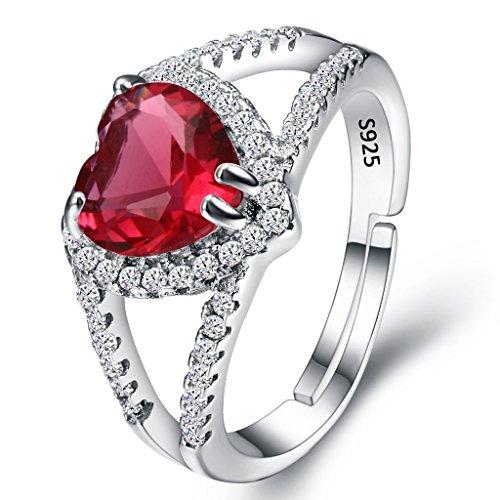 terling Silber Hochzeit Braut CZ Halo Herz von der See Veränderbar Cocktail Ring Rubin Rot (Einfache Halloween-cocktails Uk)