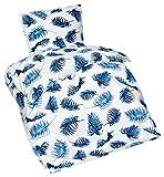 Aminata – schönes 2-teiliges Bettwäsche-Set blau mit Feder Motiv | Bettbezug á 135x200 cm | Seersucker + Reißverschluss | Federn in Blau & Weiß | Bettwäsche Garnitur Ganzjahr Normalgröße | Blätter Aufdruck