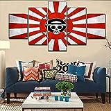 xkkzka Senza Telaio Modern Home DecorImmagini HD Stampato 5 Pezzi Bandiera Giapponese E Anime One Piece Logo Canvas Painting Wall Art Poster-A