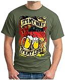 OM3® - Germany-My-Way - T-Shirt My LIVE - Deutschland Fussball Soccer Fanshirt Bier Drink Sport Geek Fun, XXL, Oliv