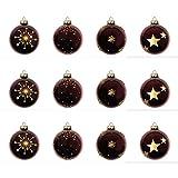 Set Weihnachtskugeln 12 Stück Ø6cm 4 Sorten Glas Sterne Rot Christbaumschmuck Baumschmuck Christbaumkugeln Weihnachtsbaumkugeln