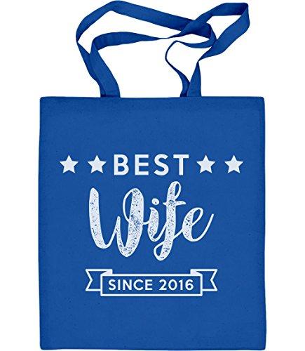 Best Wife Since mit WUNSCHJAHR Jutebeutel Baumwolltasche Blau