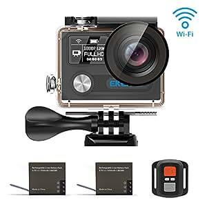 EKEN H8 Pro Wifi 4k Action Camera Sport Impermeabile con 2 batterie Ambarella A12S75 Sony Sensor + 2.4G Remote + Charging dock + bastone selfie (Black)