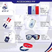 """*** KIT OFFICIEL *** Supporter Equipe de France de Football """"Coupe du Monde FIFA 2018 Russie"""" Drapeau 90 cm X 60 cm, Peinture visage, Porte clés, Tap-tap, Bracelets, paire de lunettes à grille"""