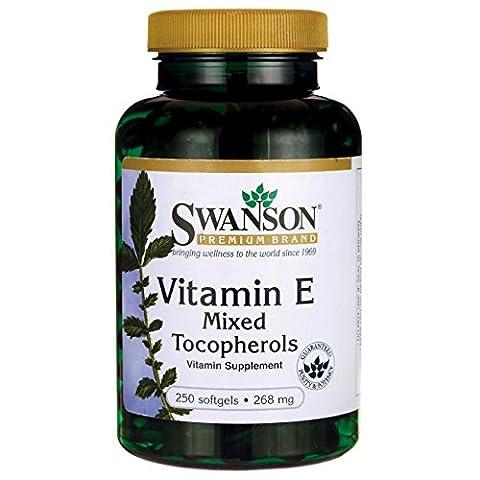 Swanson Vitamine E 400 UI, 250 gélules souples - D-Alpha-Tocophérol + Mélange de Tocophérols - Santé Cardiovasculaire, Peau, Tissus & Vaisseaux Sanguins (Vitamin E Mixed Tocopherols 400 IU softgels capsules)