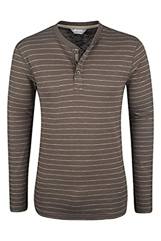 Mountain Warehouse T-shirt Homme Manches Longues Col Boutons Rayures Fines Henley Marron M