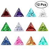 TOYMYTOY 12pcs Zirkon Edelstein Diamanten Dreieck geformte Edelsteine Dekosteine für Schmuck Handwerk Dekoration (Farbe sortiert)